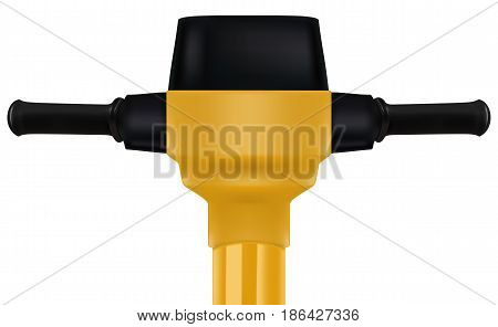 Construction yellow electric jackhammer tool. Realistic vector 3D illustration
