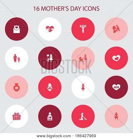 Mothers Day Icon Design Concept. Set Of 16 Such Elements As Kid, Hands, Stroller. Beautiful Symbols For Gift, Love And Care.