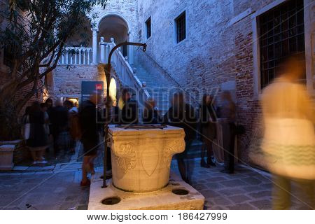 VENICE ITALY - MAY 10: People at the preview of the 57th International Art Exhibition on May 10 2017