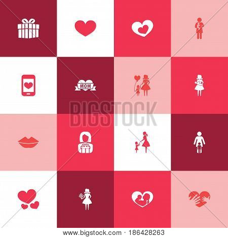 Mothers Day Icon Design Concept. Set Of 16 Such Elements As Shape, Cellphone And Loving. Beautiful Symbols For Daughter, Child And Screen.