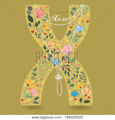 Yellow Letter X with Folk Floral Decor. Colorful watercolor flowers and plants. Small hearts. Graceful pearl necklace with text Xo-xo. Vector Illustration