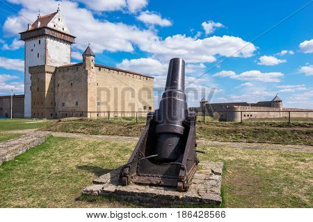 Old cannon and Hermann castle in Narva fortress. Estonia Europe. Russian fortress Ivangorod at the distance