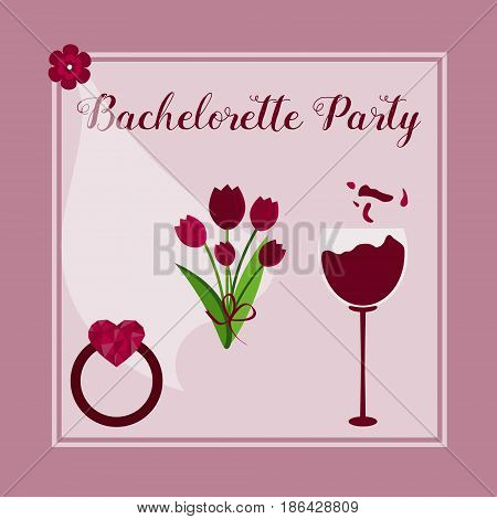 template for Bachelorette party invitation with flowers, glass of wine, ring, bride veil