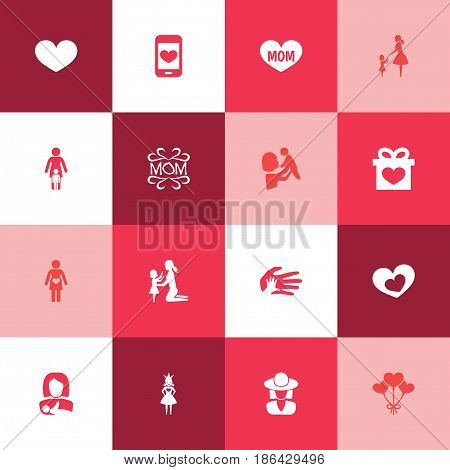 Mothers Day Icon Design Concept. Set Of 16 Such Elements As Hat, Kid And Queen. Beautiful Symbols For Decoration, Ribbon And Daughter.