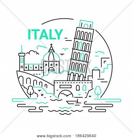Italy - modern vector line round illustration. Have a trip, enjoy your Italian vacation. Be on a safe and exciting journey. Landmark image. Tower of Pisa, saint Peter Basilica, river, bridge, building, tree, cloud, sky