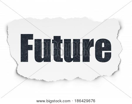 Time concept: Painted black text Future on Torn Paper background with Scheme Of Hand Drawing Time Icons