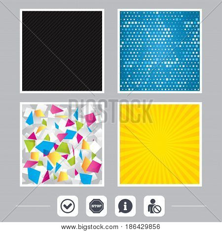 Carbon fiber texture. Yellow flare and abstract backgrounds. Information icons. Stop prohibition and user blacklist signs. Approved check mark symbol. Flat design web icons. Vector