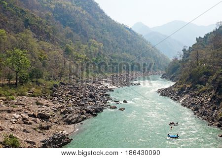 Rafting on the river Ganges in India near Laxman Jhula