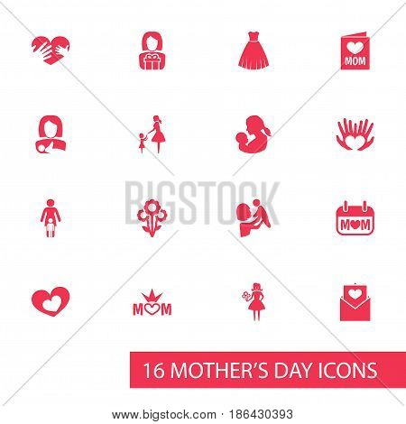 Mothers Day Icon Design Concept. Set Of 16 Such Elements As Invitation, Evening Gown And Woman. Beautiful Symbols For Heart, Day And Card.