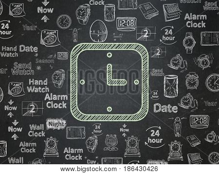 Timeline concept: Chalk Green Watch icon on School board background with  Hand Drawing Time Icons, School Board