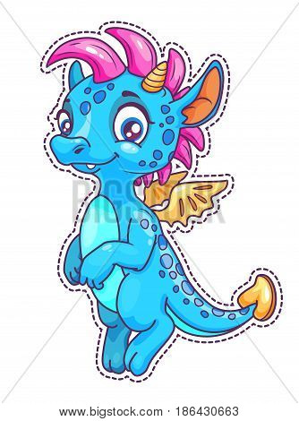 Little cute cartoon dragon patch. Vector icon, isolated on white background.