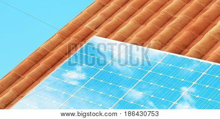 Solar panel on the roof, 3d render illustration