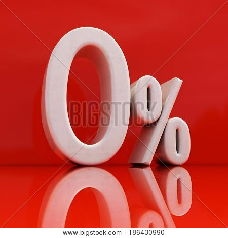 3d render: White 0% on Red Background, Sale Banner or Poster Discount Template, Retail Image