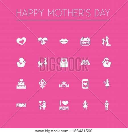 Mothers Day Icon Design Concept. Set Of 20 Such Elements As Hands, Design, Holiday. Beautiful Symbols For Loving, Mom And Mother.