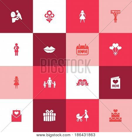 Mothers Day Icon Design Concept. Set Of 16 Such Elements As Female, People And Kid. Beautiful Symbols For Stroller, Cake And Day.