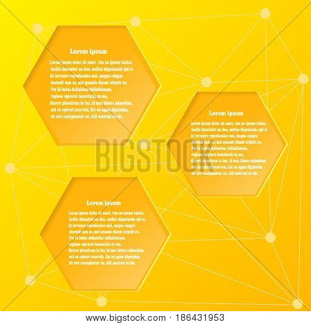 Abstract yellow background with design elements honeycombs. Vector illustration