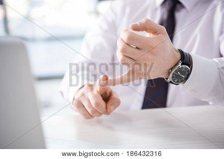 Partial View Of Businessman Counting On Fingers At Workplace, Business Concept