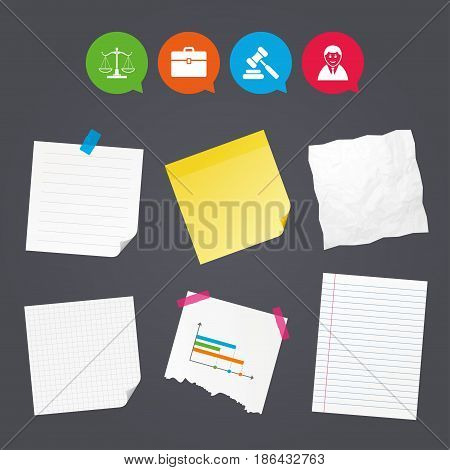 Business paper banners with notes. Scales of Justice icon. Client or Lawyer symbol. Auction hammer sign. Law judge gavel. Court of law. Sticky colorful tape. Speech bubbles with icons. Vector
