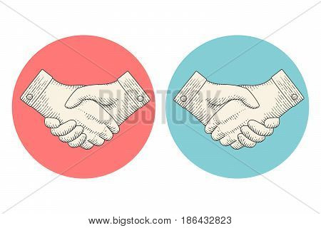Vintage drawing icons of handshake or contract agreement symbol in engraving style on white background. Handshake in old engraved vintage retro style for business presentation. Vector Illustration