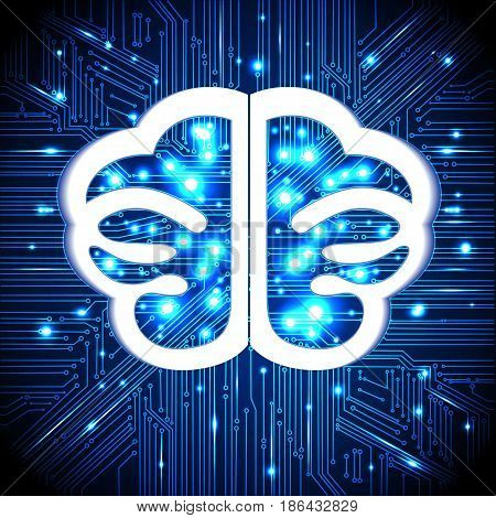 Brain thoughtscircuit board background with glowing lines with dots concept of thinking visualization of human thinking.