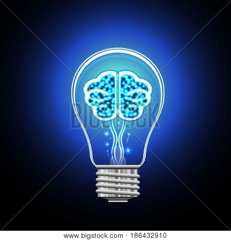 Brain with shining points in an electric bulb concept of thinking and idea.