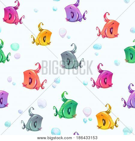 Seamless pattern with cute colorful cartoon fishes and bubbles. Vector underwater texture.