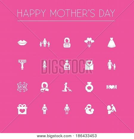 Mothers Day Icon Design Concept. Set Of 20 Such Elements As Fragrance, Playing And I Love Mom. Beautiful Symbols For Bottle, Gown And Kiss.