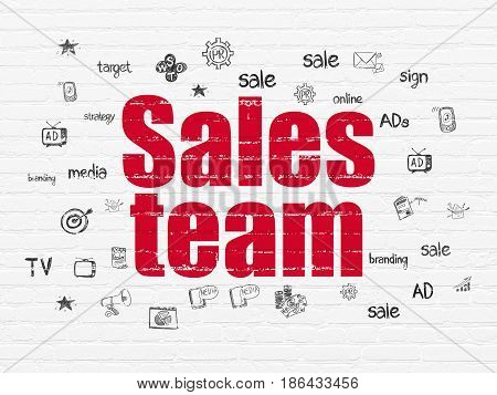 Marketing concept: Painted red text Sales Team on White Brick wall background with  Hand Drawn Marketing Icons
