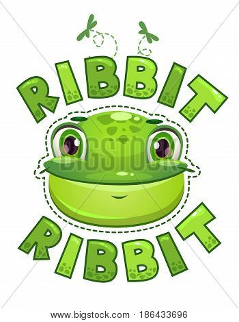 Cute t shirt print for kids with frog face. Vector illustration.