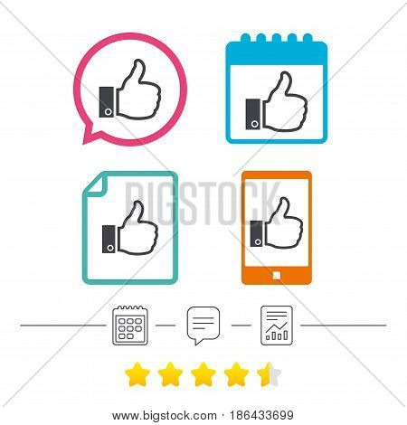 Like sign icon. Thumb up sign. Hand finger up symbol. Calendar, chat speech bubble and report linear icons. Star vote ranking. Vector