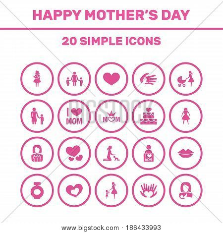 Mothers Day Icon Design Concept. Set Of 20 Such Elements As Fragrance, Female And Mouth. Beautiful Symbols For Bottle, Family And Soul.