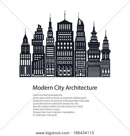 Flyer Modern Big City , Poster Architecture Megapolis with Buildings and Skyscraper and Text, City Financial Center , Brochure Design, Black and White Vector Illustration