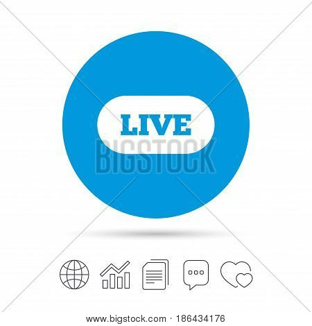 Live sign icon. On air stream symbol. Copy files, chat speech bubble and chart web icons. Vector