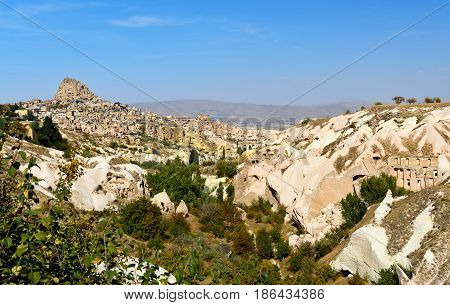 Pigeon Valley And Uchisar Castle In Cappadocia. Turkey