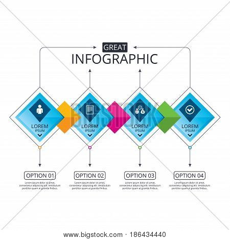 Infographic flowchart template. Business diagram with options. Bank loans icons. Cash money bag symbol. Apply for credit sign. Check or Tick mark. Timeline steps. Vector