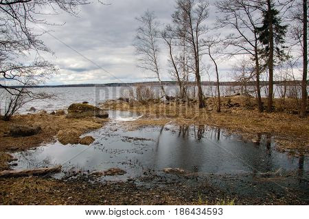 Mon repos - landscape Park on the shore of the Bay of Protective Vyborg Bay, Northern part of city Vyborg in Leningrad region. State historical-architectural and natural Museum-reserve.