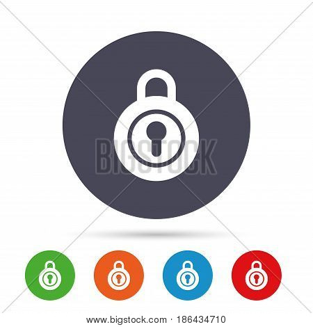 Lock sign icon. Locker symbol. Round colourful buttons with flat icons. Vector