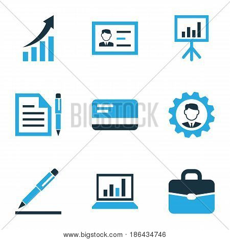 Business Colorful Icons Set. Collection Of Growing Chart, Document With Pen, Manager And Other Elements. Also Includes Symbols Such As Chart, Agreement, Id.