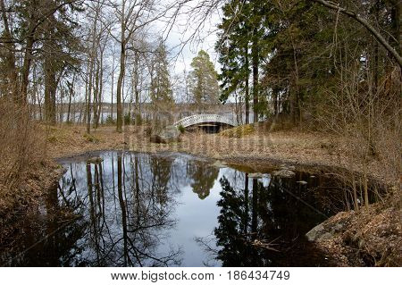 Bridge eye in mon repos is a rocky landscape Park on the shore of the Bay of Protective Vyborg Bay. State historical-architectural and natural Museum-reserve.
