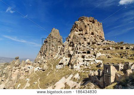 View Of Uchisar Castle. Cappadocia. Turkey