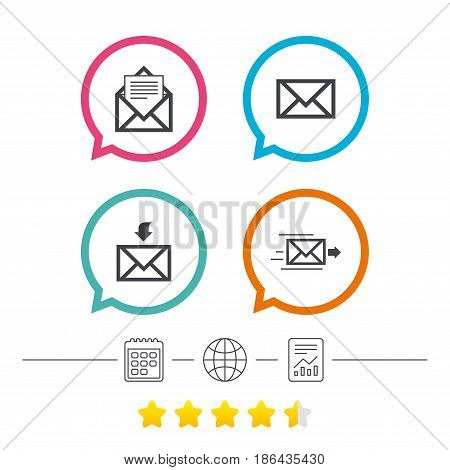 Mail envelope icons. Message document delivery symbol. Post office letter signs. Inbox and outbox message icons. Calendar, internet globe and report linear icons. Star vote ranking. Vector