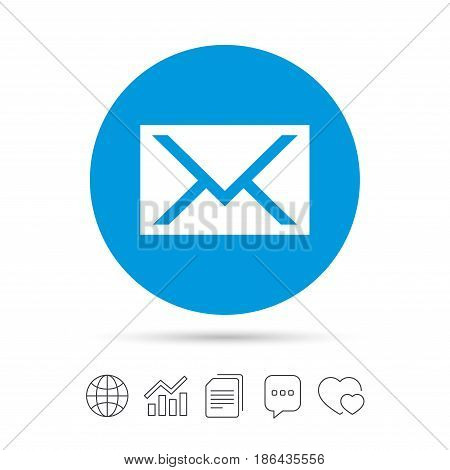 Mail icon. Envelope symbol. Message sign. Mail navigation button. Copy files, chat speech bubble and chart web icons. Vector