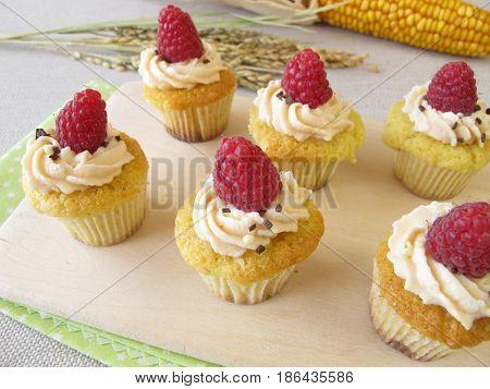 Gluten free raspberry cupcakes, corncop and rice panicle
