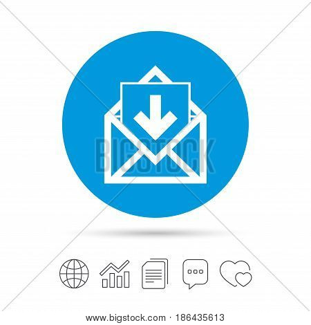 Mail icon. Envelope symbol. Inbox message sign. Mail navigation button. Copy files, chat speech bubble and chart web icons. Vector