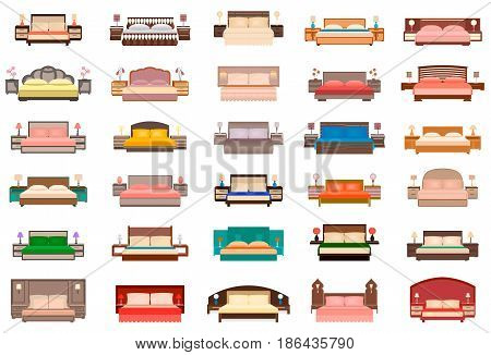 Big set of beds with bedside tables lamps and headboards. Bedroom furniture group in flat style. Home interior decorating. Vector illustration.