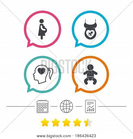 Maternity icons. Baby infant, pregnancy and dummy signs. Child pacifier symbols. Head with heart. Calendar, internet globe and report linear icons. Star vote ranking. Vector