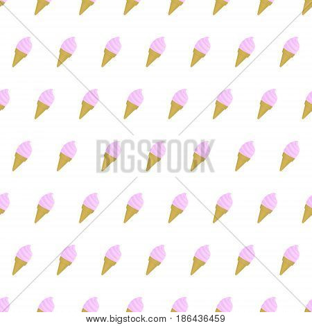 Seamless pattern ice cream summer background with template in swatches for your convenience. Easy to use. Cartoon flat style illustration.