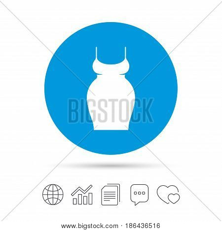Pregnant woman dress sign icon. Maternity clothing symbol Copy files, chat speech bubble and chart web icons. Vector