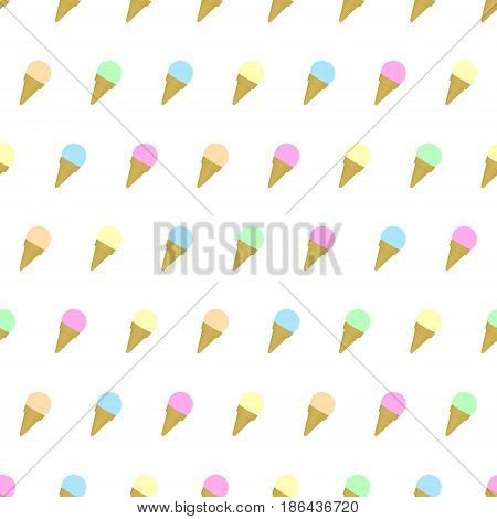 Seamless pattern colored ice cream background with template in swatches for your convenience. Easy to use. Cartoon flat style illustration.