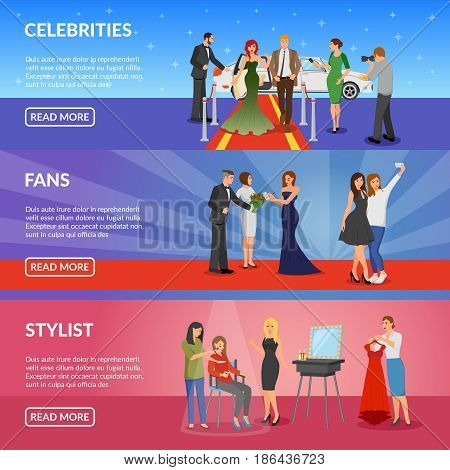 Celebrity horizontal banners set with superstar on red carpet fans making selfie with celebrity and stylist room flat vector illustration